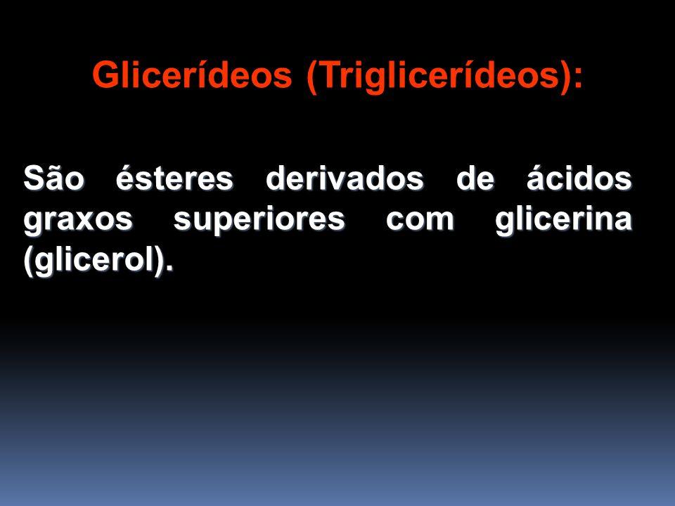 Glicerídeos (Triglicerídeos): São ésteres derivados de ácidos graxos superiores com glicerina (glicerol).