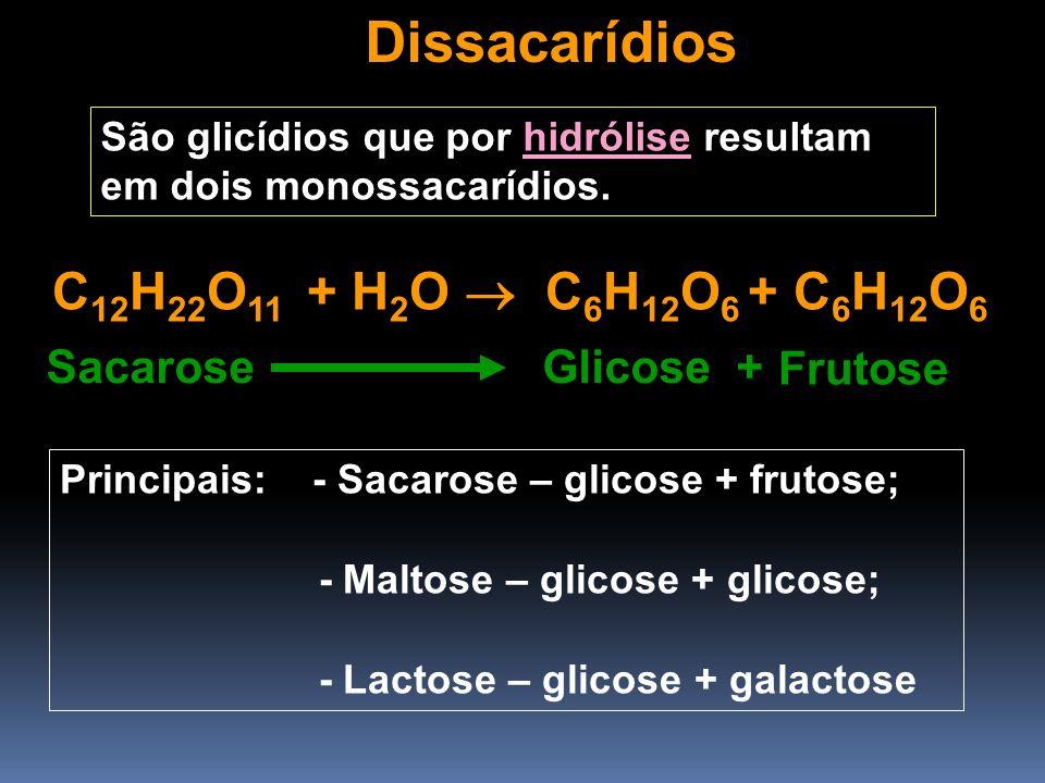 Dissacarídios São glicídios que por hidrólise resultam em dois monossacarídios. C 12 H 22 O 11 + H 2 O C 6 H 12 O 6 + C 6 H 12 O 6 Sacarose Glicose +