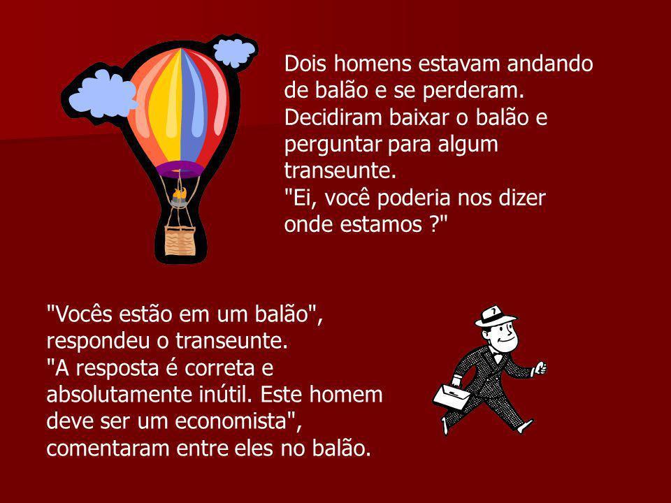 Dois homens estavam andando de balão e se perderam. Decidiram baixar o balão e perguntar para algum transeunte.