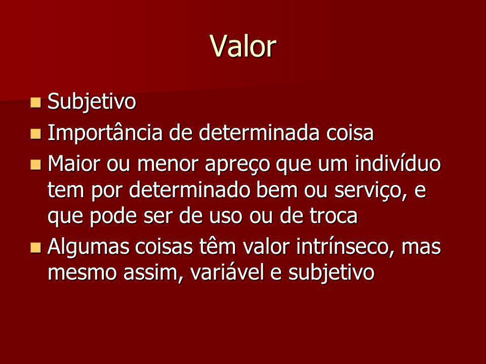 Valor Subjetivo Subjetivo Importância de determinada coisa Importância de determinada coisa Maior ou menor apreço que um indivíduo tem por determinado