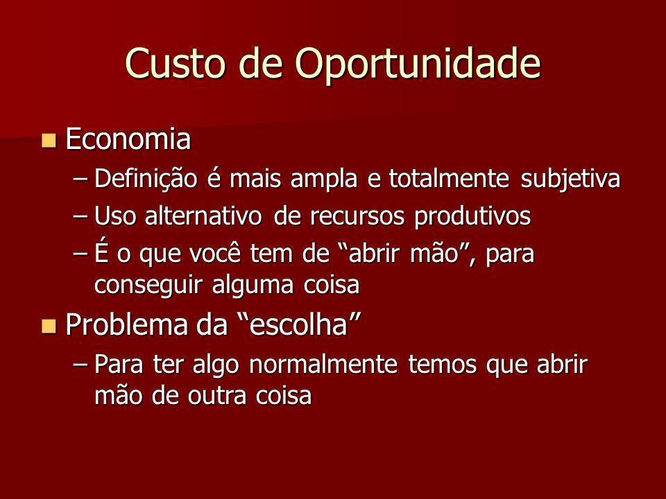 Custo de Oportunidade Economia Economia –Definição é mais ampla e totalmente subjetiva –Uso alternativo de recursos produtivos –É o que você tem de ab