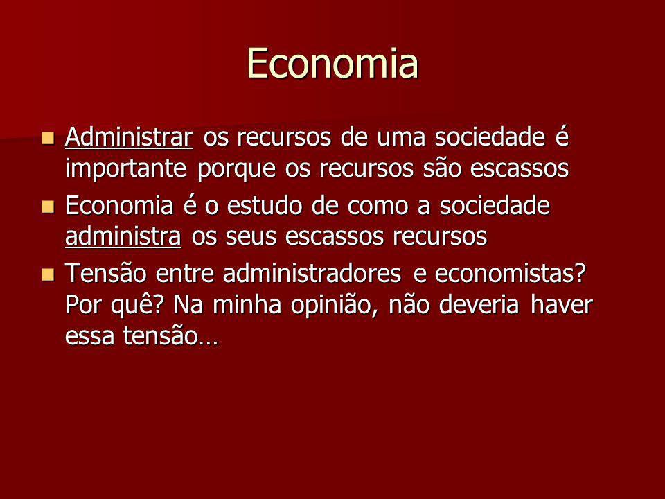 Economia Administrar os recursos de uma sociedade é importante porque os recursos são escassos Administrar os recursos de uma sociedade é importante p