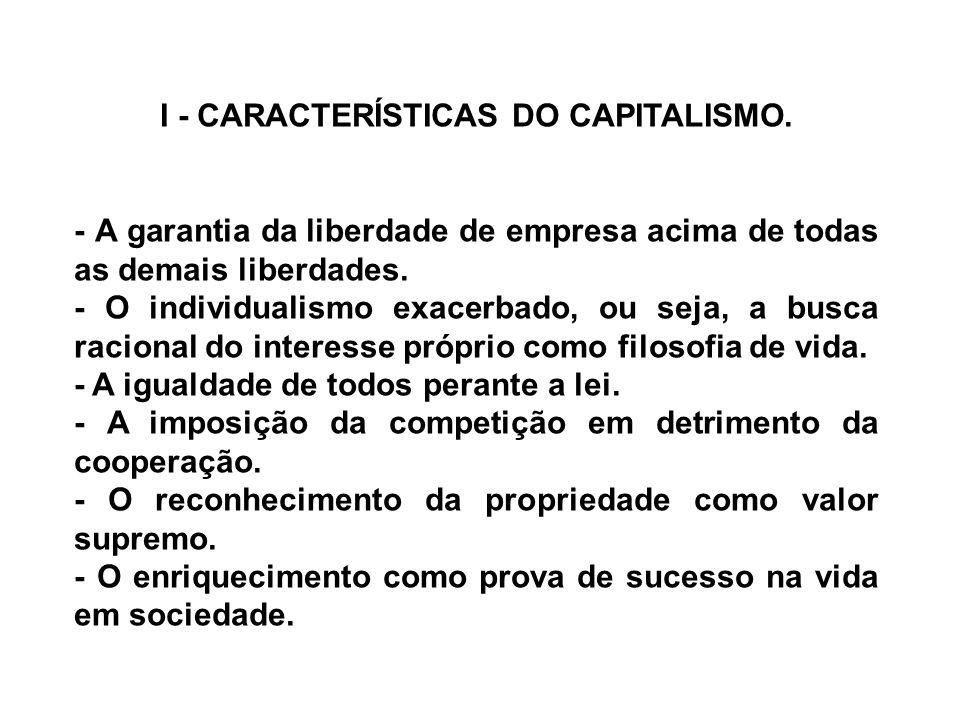 I - CARACTERÍSTICAS DO CAPITALISMO. - A garantia da liberdade de empresa acima de todas as demais liberdades. - O individualismo exacerbado, ou seja,