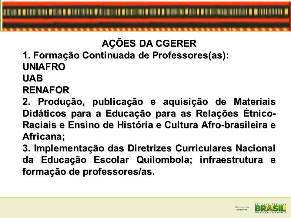AÇÕES DA CGERER 1. Formação Continuada de Professores(as): UNIAFROUABRENAFOR 2. Produção, publicação e aquisição de Materiais Didáticos para a Educaçã