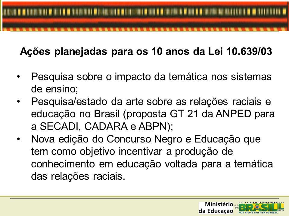 Ações planejadas para os 10 anos da Lei 10.639/03 Pesquisa sobre o impacto da temática nos sistemas de ensino; Pesquisa/estado da arte sobre as relaçõ