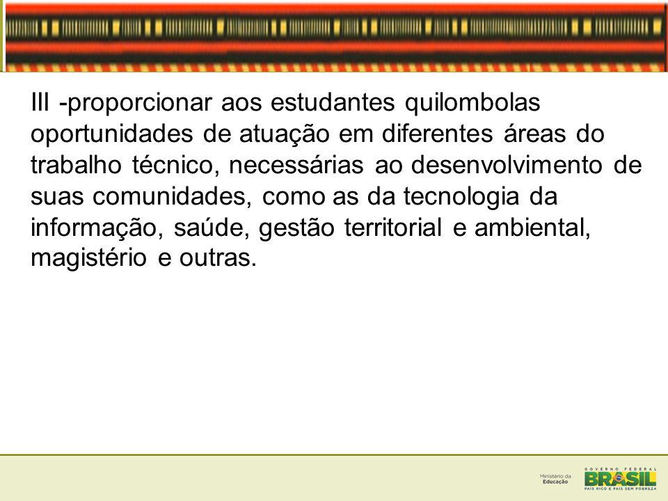III -proporcionar aos estudantes quilombolas oportunidades de atuação em diferentes áreas do trabalho técnico, necessárias ao desenvolvimento de suas