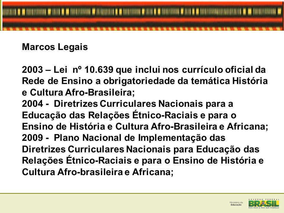 Implementação da Lei 10.639/03 - Cursos de Educação das Relações Étnico-Raciais e o Ensino de História e Cultura Afro-Brasileira e Africana disponibilizados na RENAFOR, a partir de 2008; - Inserção da História e Cultura Afro-Brasileira e Africana nas disciplinas e atividades curriculares como requisito legal nos processos de autorização, reconhecimento e renovação dos cursos superiores, presencial e a distância, a partir de 2011; - A coleta dos dados do Censo Escolar/INEP 2012, contemplando no Caderno do Professor(a), o item sobre a formação docente para a Educação das Relações Étnico-Raciais, nas diversas etapas e modalidades da educação básica;