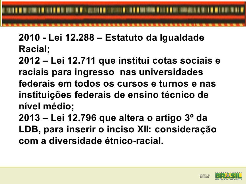 2010 - Lei 12.288 – Estatuto da Igualdade Racial; 2012 – Lei 12.711 que institui cotas sociais e raciais para ingresso nas universidades federais em t