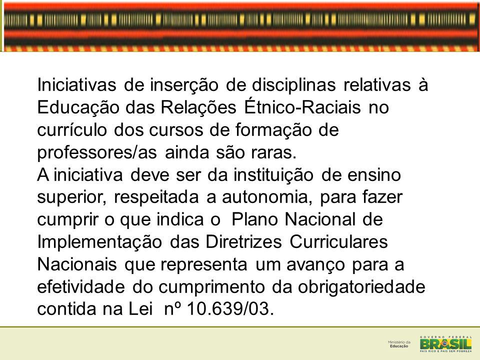 Iniciativas de inserção de disciplinas relativas à Educação das Relações Étnico-Raciais no currículo dos cursos de formação de professores/as ainda sã