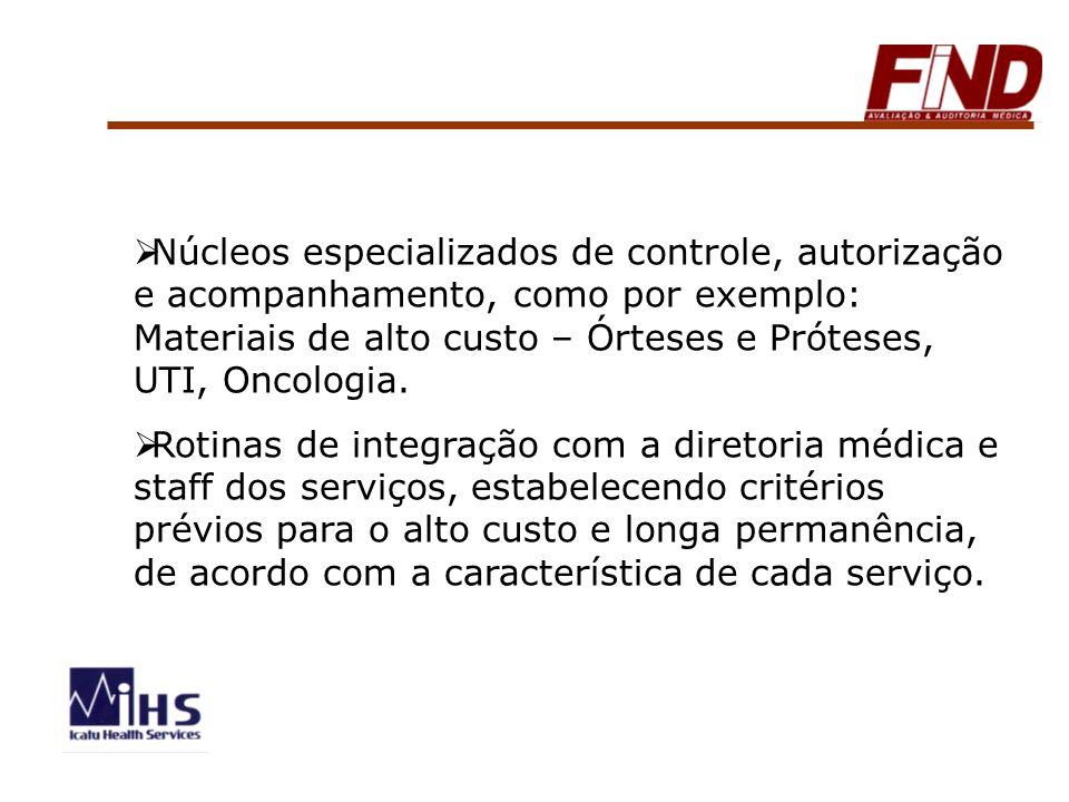 Núcleos especializados de controle, autorização e acompanhamento, como por exemplo: Materiais de alto custo – Órteses e Próteses, UTI, Oncologia. Roti