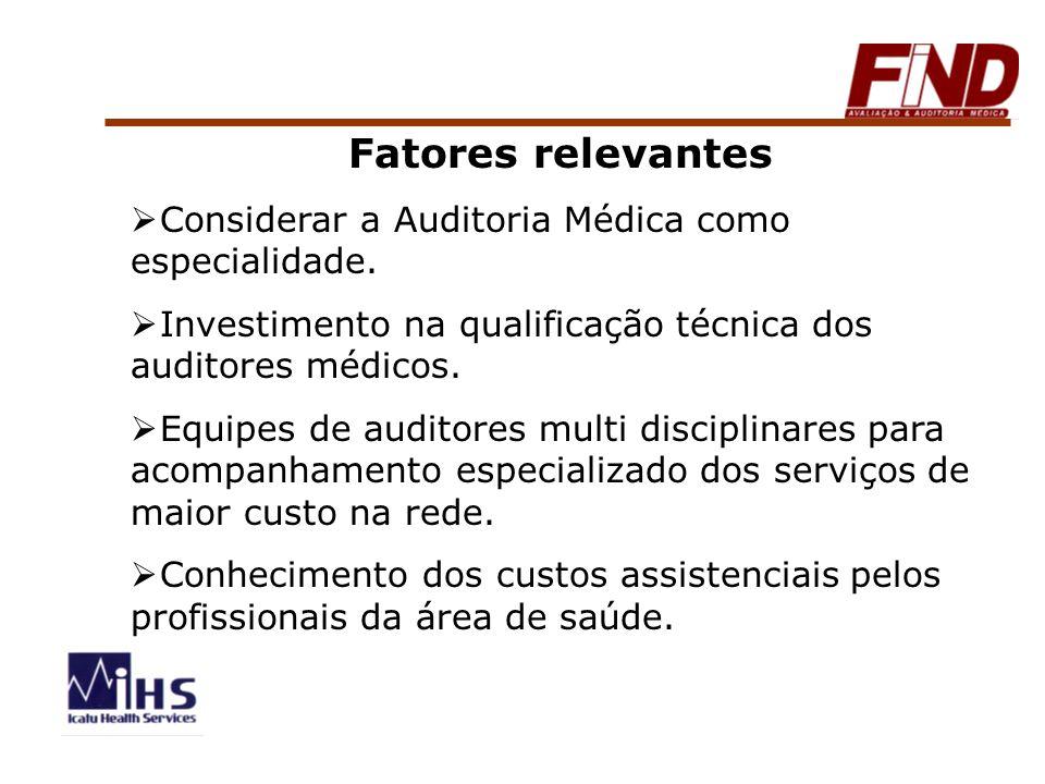 Fatores relevantes Considerar a Auditoria Médica como especialidade. Investimento na qualificação técnica dos auditores médicos. Equipes de auditores