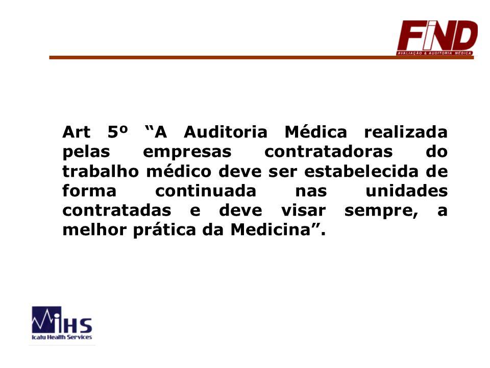 Art 5º A Auditoria Médica realizada pelas empresas contratadoras do trabalho médico deve ser estabelecida de forma continuada nas unidades contratadas