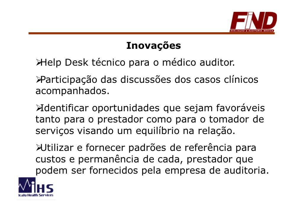 Inovações Help Desk técnico para o médico auditor. Participação das discussões dos casos clínicos acompanhados. Identificar oportunidades que sejam fa