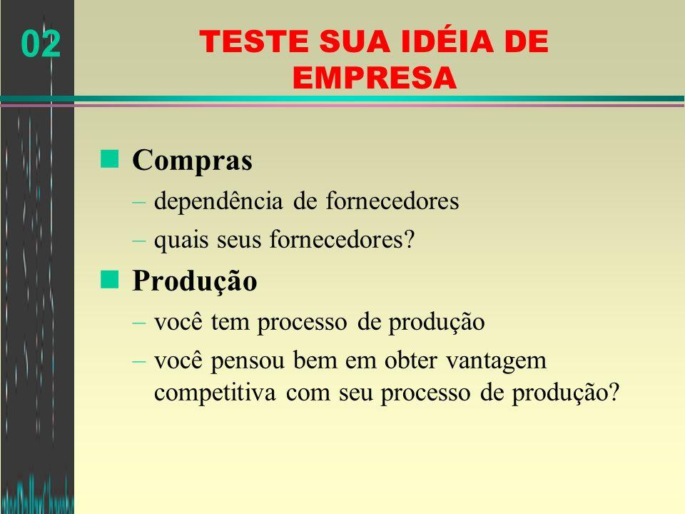 02 TESTE SUA IDÉIA DE EMPRESA n Compras –dependência de fornecedores –quais seus fornecedores? n Produção –você tem processo de produção –você pensou