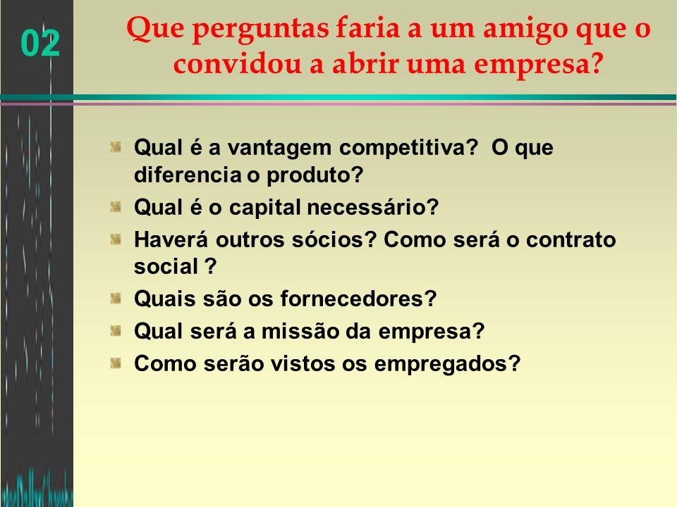 02 Qual é a vantagem competitiva? O que diferencia o produto? Qual é o capital necessário? Haverá outros sócios? Como será o contrato social ? Quais s
