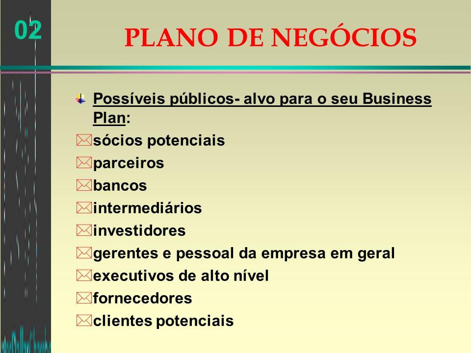 02 Possíveis públicos- alvo para o seu Business Plan: *sócios potenciais *parceiros *bancos *intermediários *investidores *gerentes e pessoal da empre