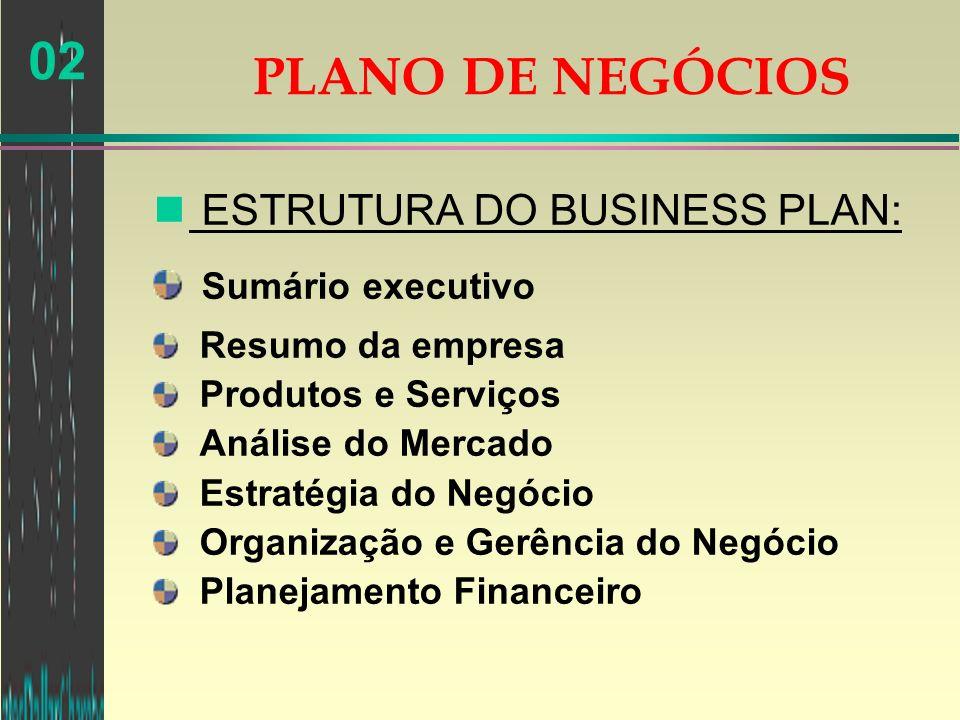 02 n ESTRUTURA DO BUSINESS PLAN: Sumário executivo Resumo da empresa Produtos e Serviços Análise do Mercado Estratégia do Negócio Organização e Gerênc