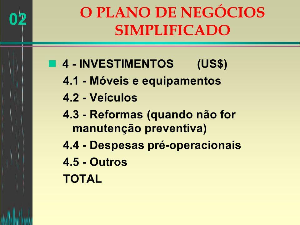 02 n 4 - INVESTIMENTOS (US$) 4.1 - Móveis e equipamentos 4.2 - Veículos 4.3 - Reformas (quando não for manutenção preventiva) 4.4 - Despesas pré-opera