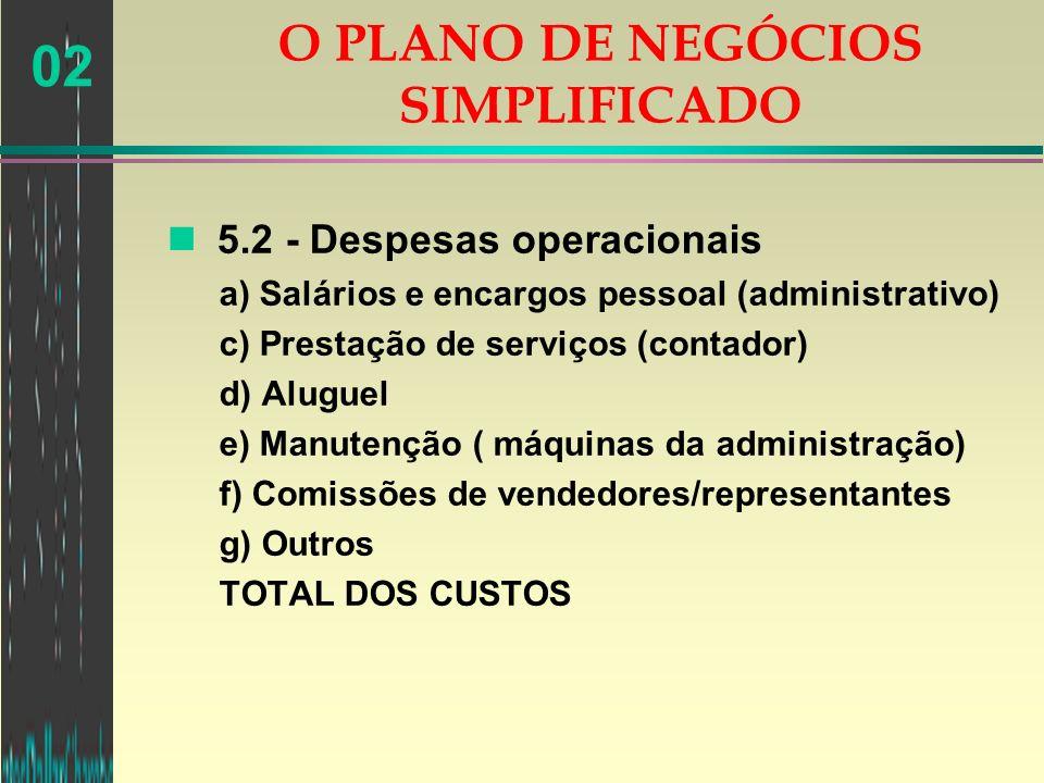 02 n 5.2 - Despesas operacionais a) Salários e encargos pessoal (administrativo) c) Prestação de serviços (contador) d) Aluguel e) Manutenção ( máquin