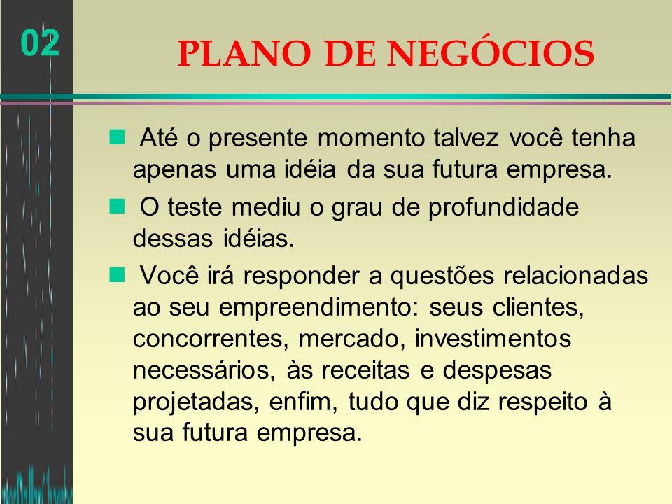 02 n Até o presente momento talvez você tenha apenas uma idéia da sua futura empresa. n O teste mediu o grau de profundidade dessas idéias. n Você irá