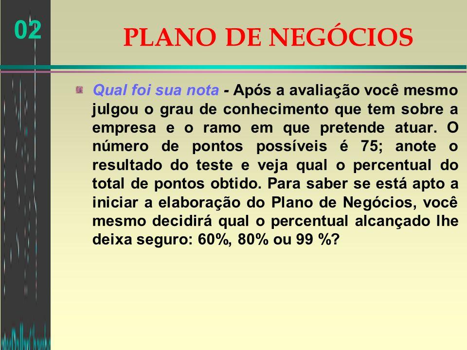 02 PLANO DE NEGÓCIOS PLANO DE NEGÓCIOS Qual é o meu negócio.