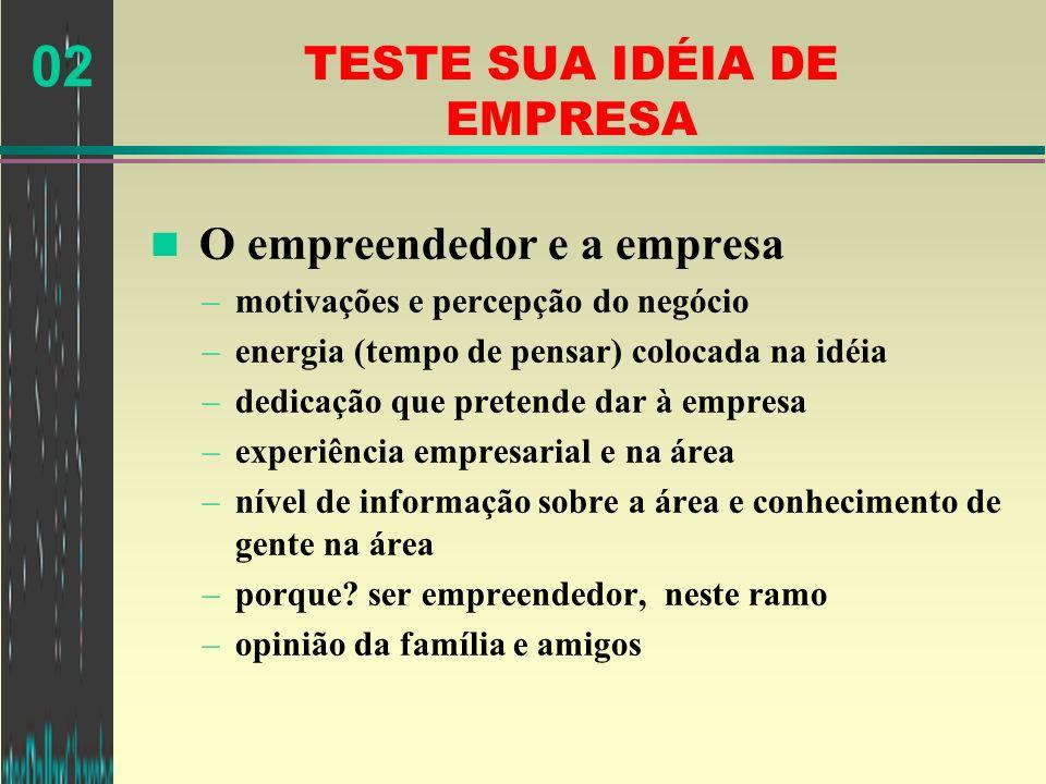02 TESTE SUA IDÉIA DE EMPRESA n O empreendedor e a empresa –motivações e percepção do negócio –energia (tempo de pensar) colocada na idéia –dedicação