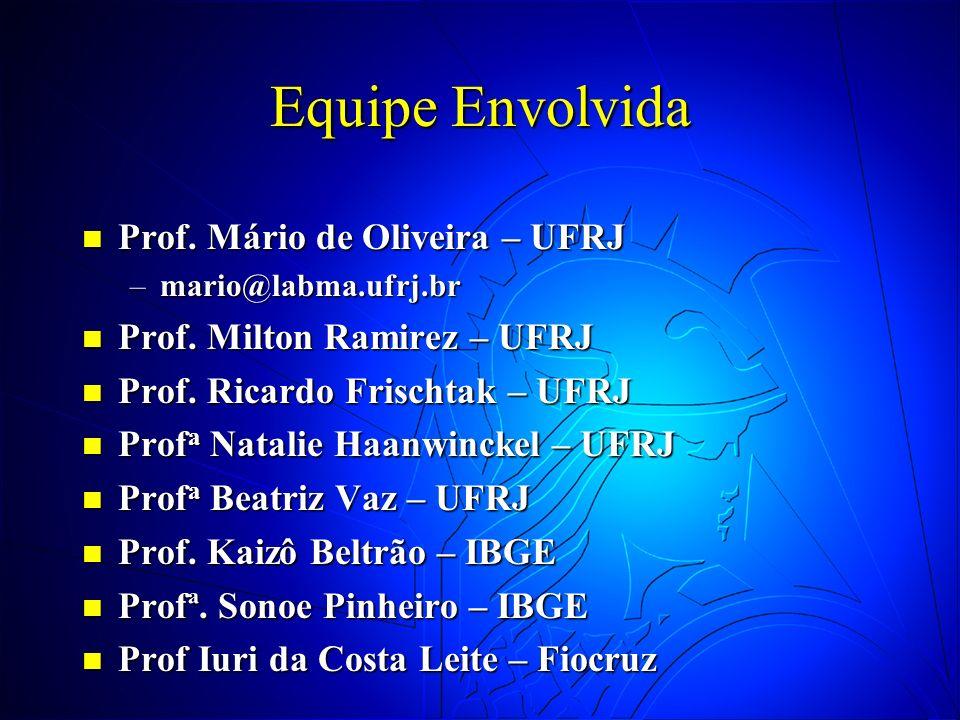 Equipe Envolvida Prof. Mário de Oliveira – UFRJ Prof. Mário de Oliveira – UFRJ –mario@labma.ufrj.br Prof. Milton Ramirez – UFRJ Prof. Milton Ramirez –