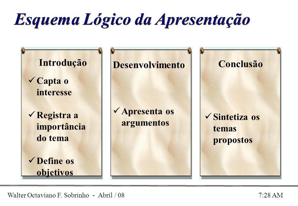 Walter Octaviano F. Sobrinho - Abril / 08 7:28 AM Esquema Lógico da Apresentação Capta o interesse Registra a importância do tema Define os objetivos