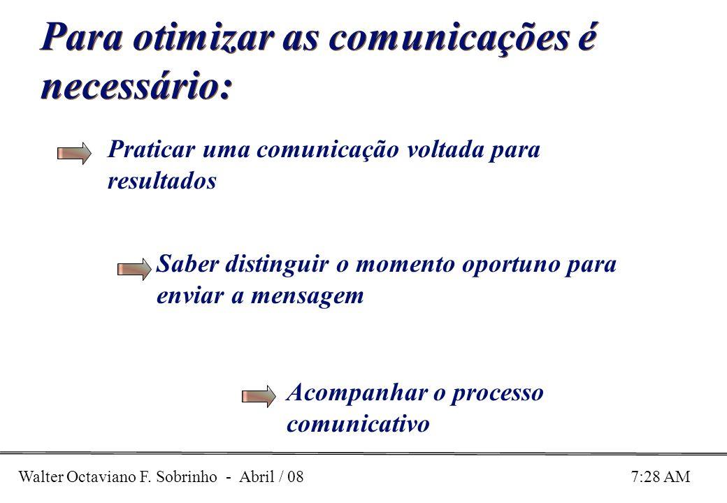 Walter Octaviano F. Sobrinho - Abril / 08 7:28 AM Para otimizar as comunicações é necessário: Praticar uma comunicação voltada para resultados Saber d