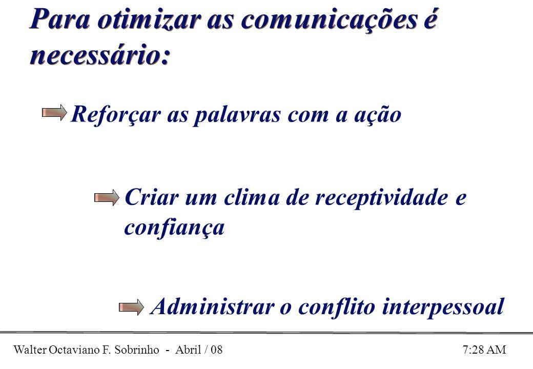 Walter Octaviano F. Sobrinho - Abril / 08 7:28 AM Para otimizar as comunicações é necessário: Reforçar as palavras com a ação Criar um clima de recept