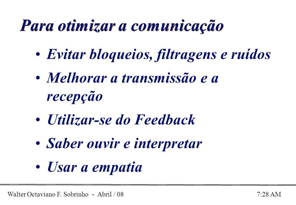 Walter Octaviano F. Sobrinho - Abril / 08 7:28 AM Para otimizar a comunicação Evitar bloqueios, filtragens e ruídos Melhorar a transmissão e a recepçã