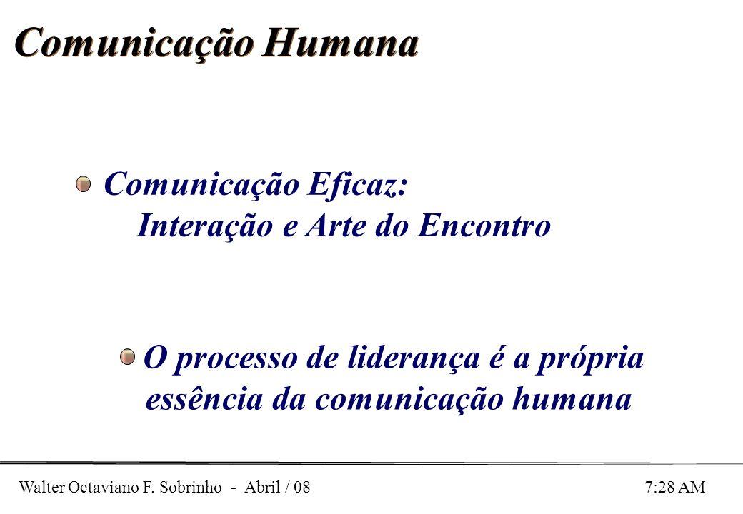Walter Octaviano F. Sobrinho - Abril / 08 7:28 AM Comunicação Humana O processo de liderança é a própria essência da comunicação humana Comunicação Ef