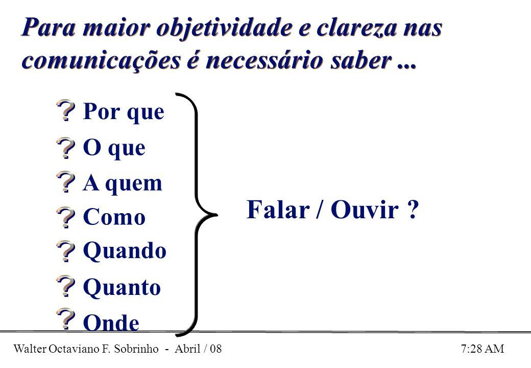 Walter Octaviano F. Sobrinho - Abril / 08 7:28 AM Para maior objetividade e clareza nas comunicações é necessário saber... Falar / Ouvir ? Por que O q