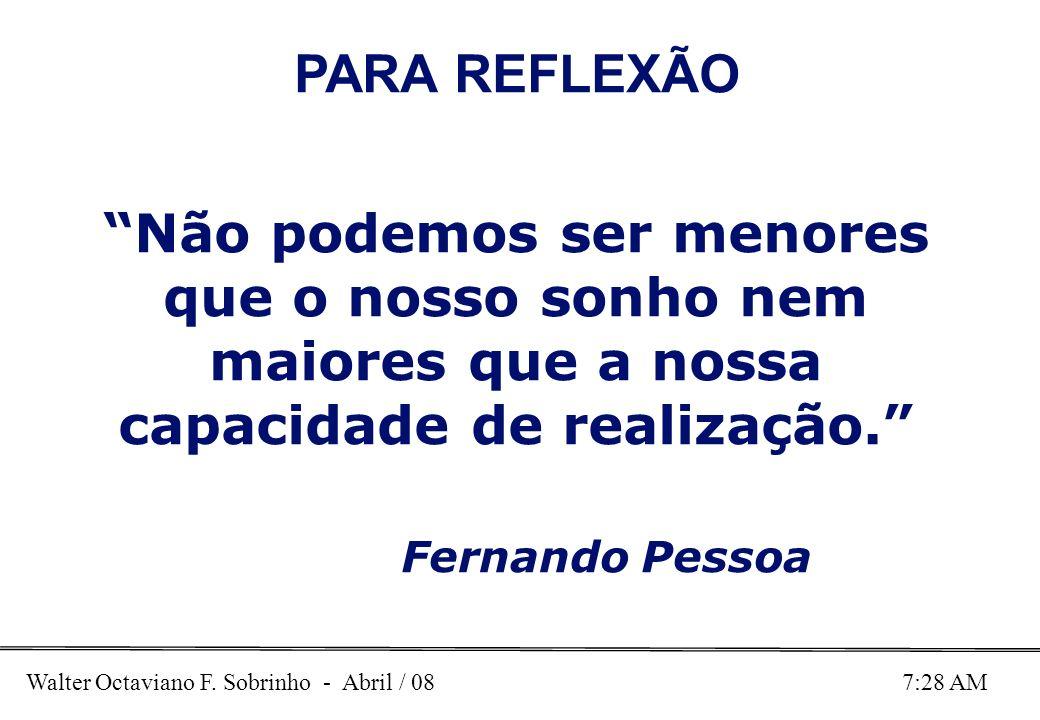 Walter Octaviano F. Sobrinho - Abril / 08 7:28 AM PARA REFLEXÃO Não podemos ser menores que o nosso sonho nem maiores que a nossa capacidade de realiz