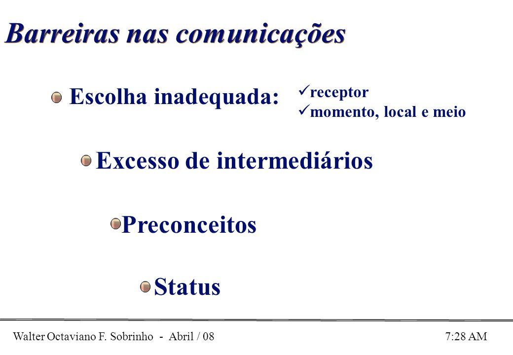 Walter Octaviano F. Sobrinho - Abril / 08 7:28 AM Barreiras nas comunicações Escolha inadequada: receptor momento, local e meio Excesso de intermediár