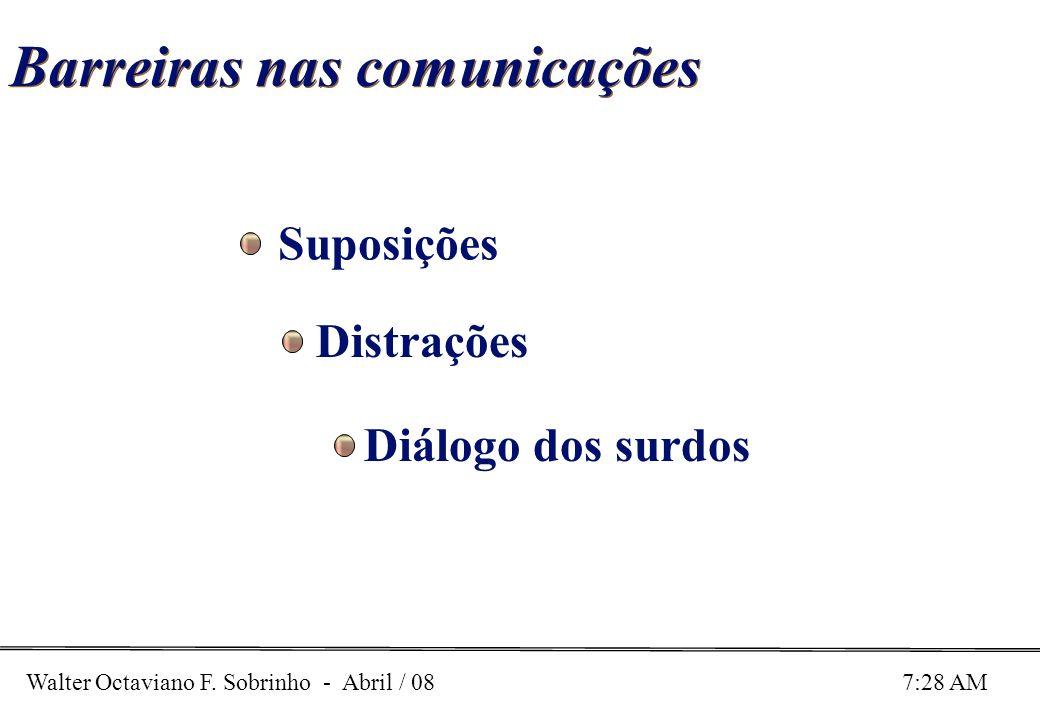 Walter Octaviano F. Sobrinho - Abril / 08 7:28 AM Barreiras nas comunicações Suposições Distrações Diálogo dos surdos