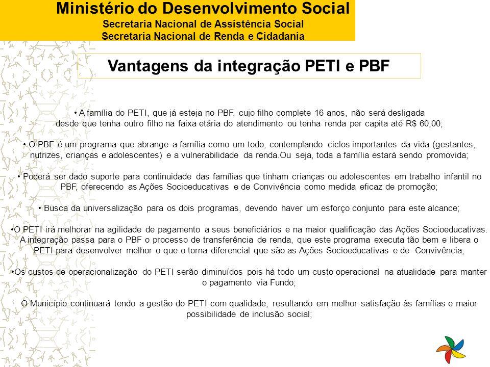 Ministério do Desenvolvimento Social Secretaria Nacional de Assistência Social Secretaria Nacional de Renda e Cidadania A família do PETI, que já este