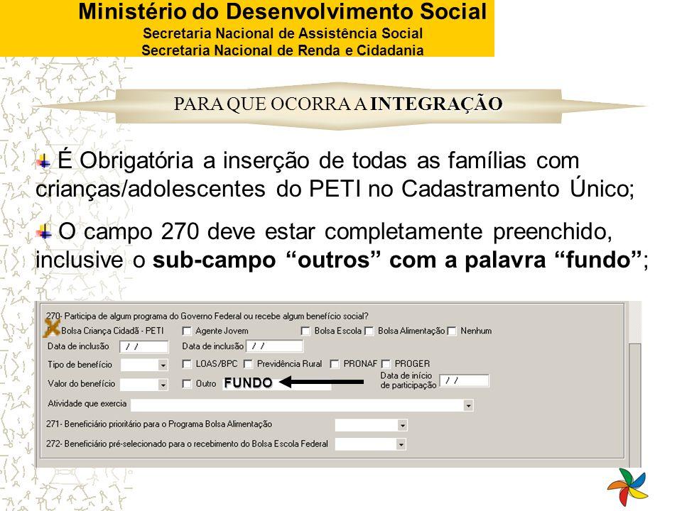 Ministério do Desenvolvimento Social Secretaria Nacional de Assistência Social Secretaria Nacional de Renda e Cidadania É Obrigatória a inserção de to