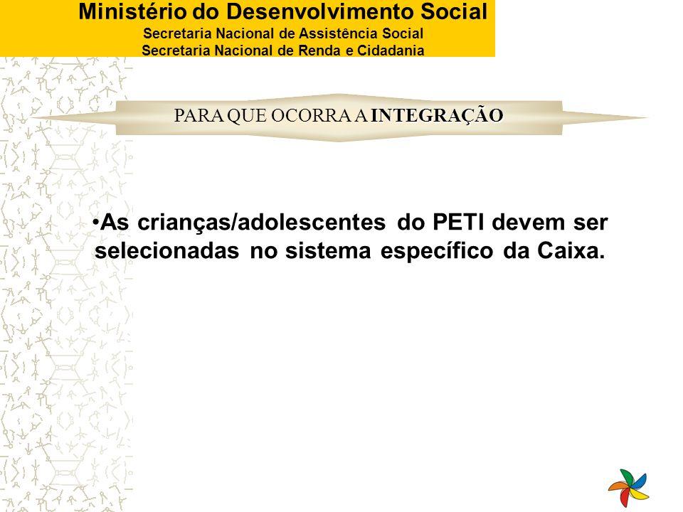 Ministério do Desenvolvimento Social Secretaria Nacional de Assistência Social Secretaria Nacional de Renda e Cidadania As crianças/adolescentes do PE