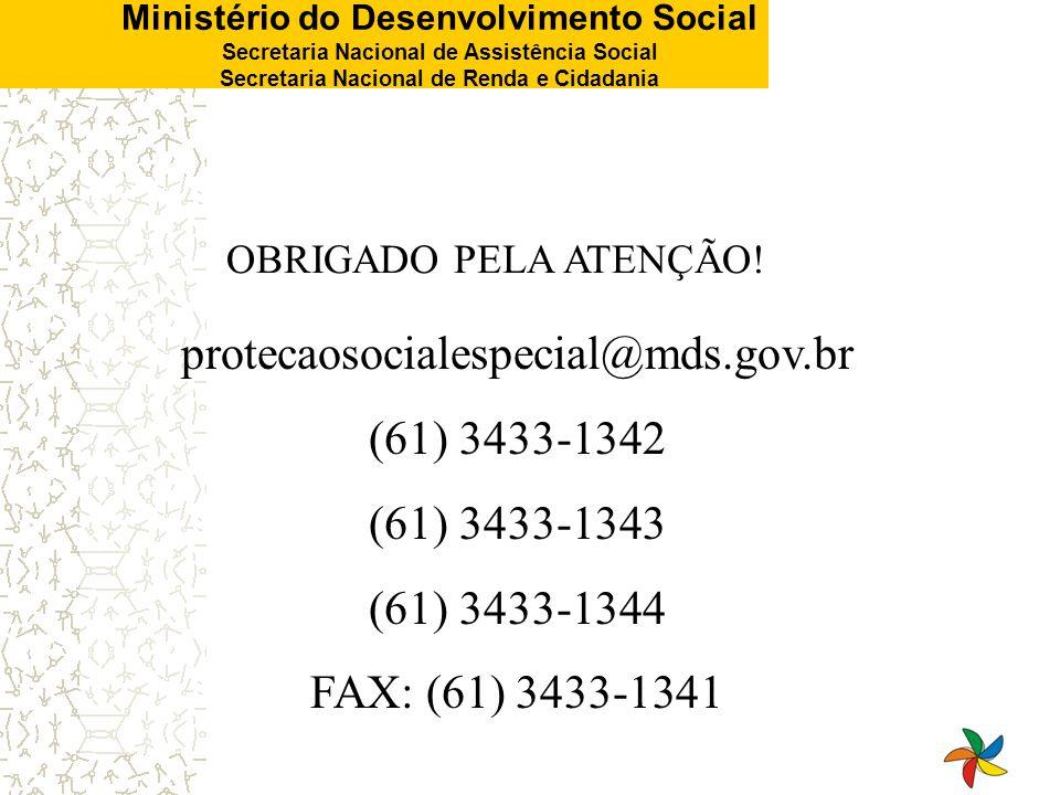 Ministério do Desenvolvimento Social Secretaria Nacional de Assistência Social Secretaria Nacional de Renda e Cidadania OBRIGADO PELA ATENÇÃO! proteca