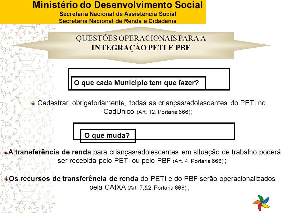 Ministério do Desenvolvimento Social Secretaria Nacional de Assistência Social Secretaria Nacional de Renda e Cidadania INTEGRAÇÃO PETI E PBF QUESTÕES
