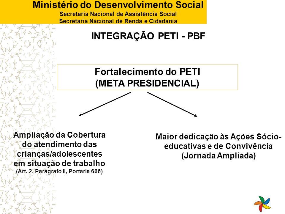 Ministério do Desenvolvimento Social Secretaria Nacional de Assistência Social Secretaria Nacional de Renda e Cidadania INTEGRAÇÃO PETI - PBF Universalização do PBF para as famílias que atendem aos seus critérios de elegibilidade (Art.