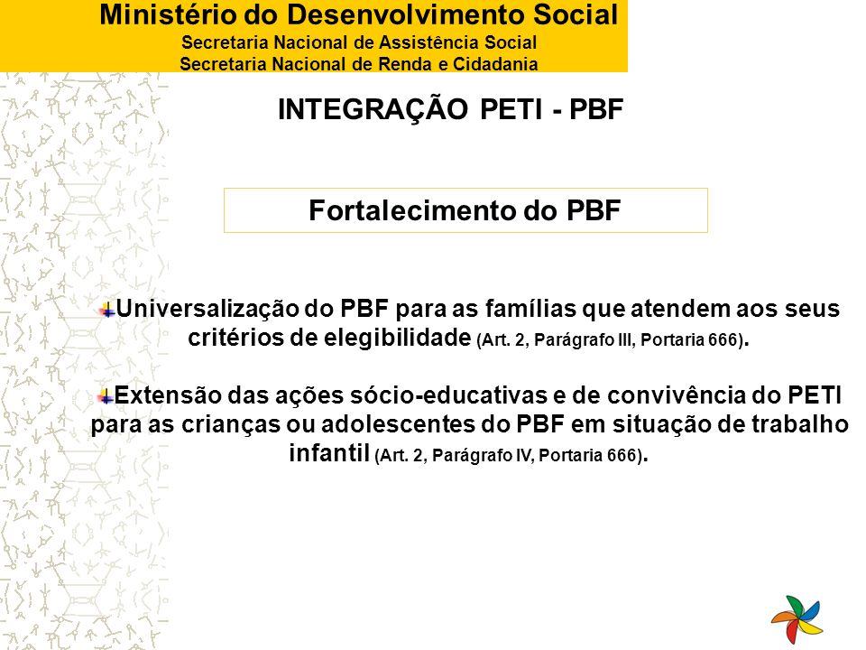 Ministério do Desenvolvimento Social Secretaria Nacional de Assistência Social Secretaria Nacional de Renda e Cidadania INTEGRAÇÃO PETI - PBF Universa