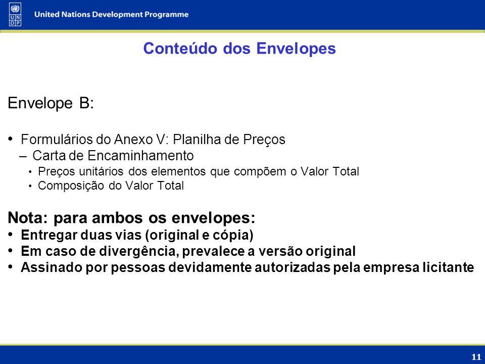 11 Conteúdo dos Envelopes Envelope B: Formulários do Anexo V: Planilha de Preços –Carta de Encaminhamento Preços unitários dos elementos que compõem o