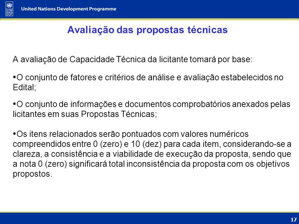 17 Avaliação das propostas técnicas A avaliação de Capacidade Técnica da licitante tomará por base: O conjunto de fatores e critérios de análise e ava