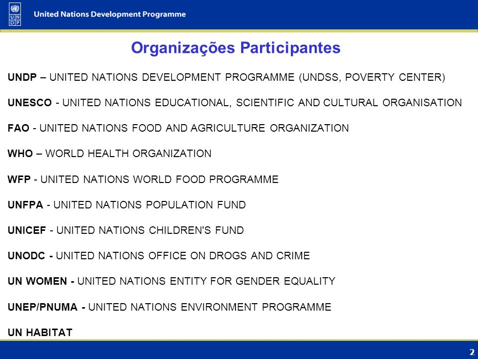 2 Organizações Participantes UNDP – UNITED NATIONS DEVELOPMENT PROGRAMME (UNDSS, POVERTY CENTER) UNESCO - UNITED NATIONS EDUCATIONAL, SCIENTIFIC AND C