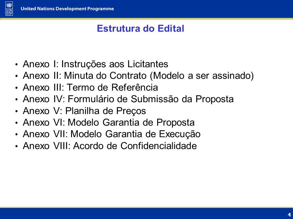 4 Estrutura do Edital Anexo I: Instruções aos Licitantes Anexo II: Minuta do Contrato (Modelo a ser assinado) Anexo III: Termo de Referência Anexo IV: