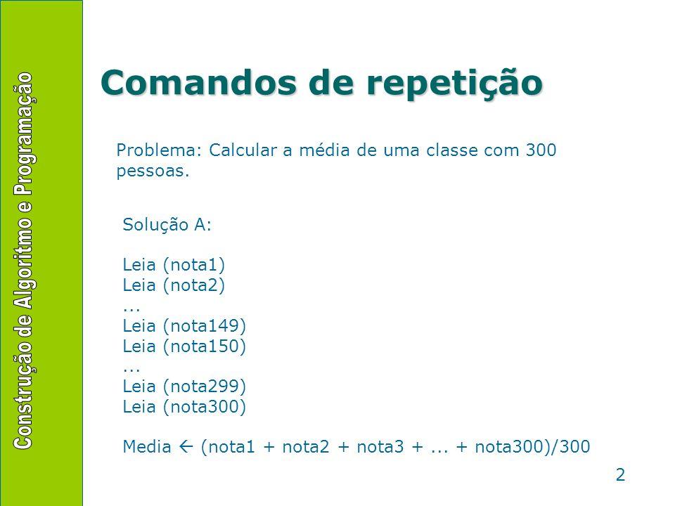 2 Problema: Calcular a média de uma classe com 300 pessoas. Solução A: Leia (nota1) Leia (nota2)... Leia (nota149) Leia (nota150)... Leia (nota299) Le