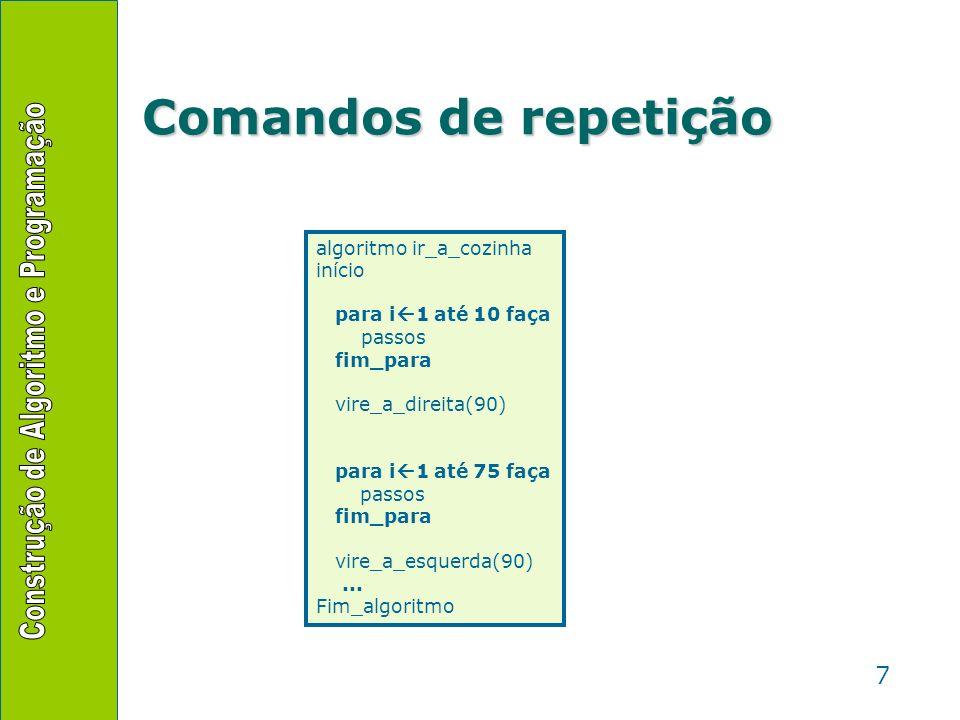 7 Comandos de repetição algoritmo ir_a_cozinha início para i 1 até 10 faça passos fim_para vire_a_direita(90) para i 1 até 75 faça passos fim_para vir