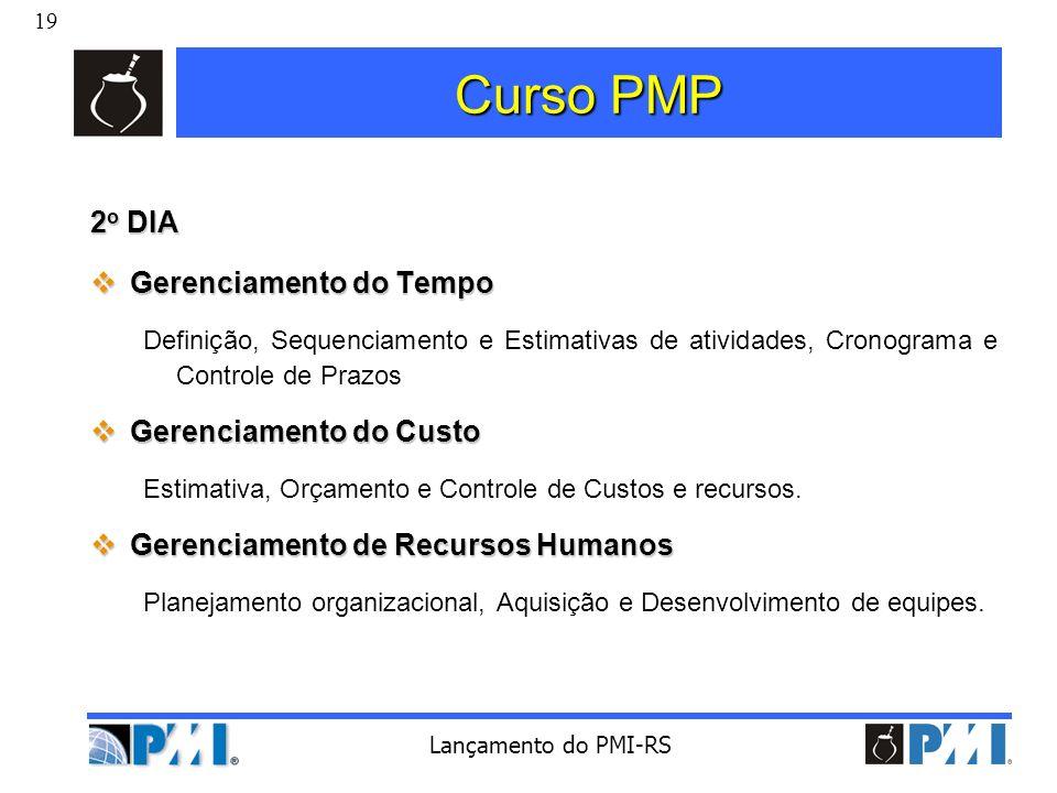 19 Lançamento do PMI-RS Curso PMP 2 o DIA Gerenciamento do Tempo Gerenciamento do Tempo Definição, Sequenciamento e Estimativas de atividades, Cronogr